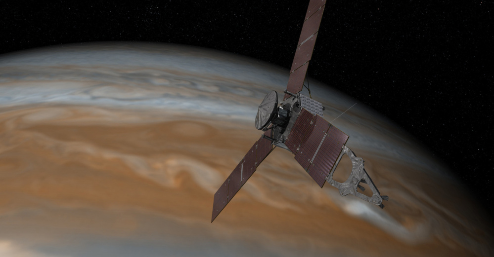 This artist's rendering provided by NASA and JPL-Caltech shows the Juno spacecraft above the planet Jupiter. Five years after its launch from Earth, Juno is scheduled to go into orbit around the gas giant Monday.