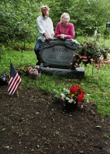 Carl Anton wanted his burial with no embalming fluid, no undertakers and no vault, but his son Scott Anton and widow, Mary Ann, have marked the spot with a headstone.