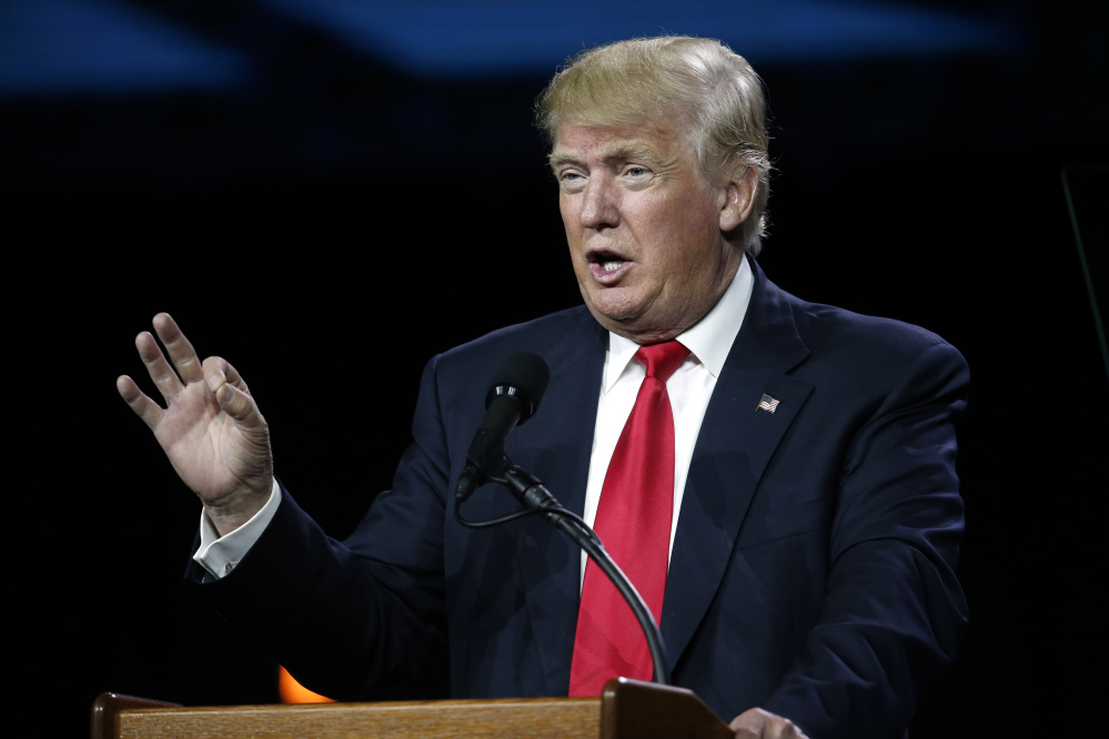 Donald Trump, seen speaking Friday at the Western Conservative Summit in Denver, said Monday that a six-pointed star in his Twitter message criticizing Hillary Clinton was a