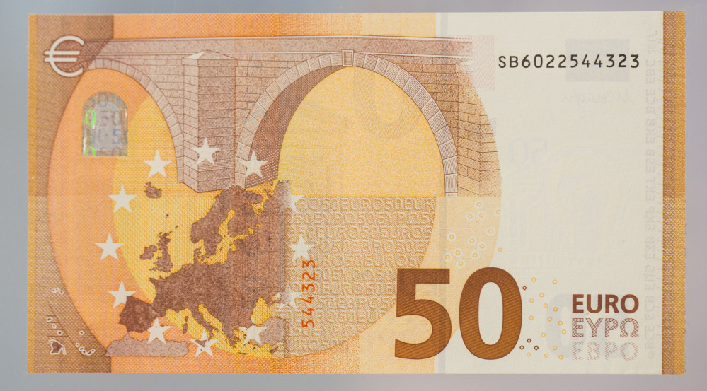 The new 50 euro banknote is presented at the headquarters of the European Central Bank, ECB, in Frankfurt, central Germany, Tuesday