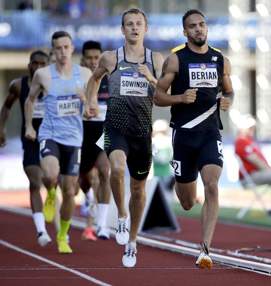 Boris Berian, right, has faced a pair of obstacles, but on Monday he reached his goal by qualifying for the Olympics in the 800 by finishing second in the final of the U.S. trials.