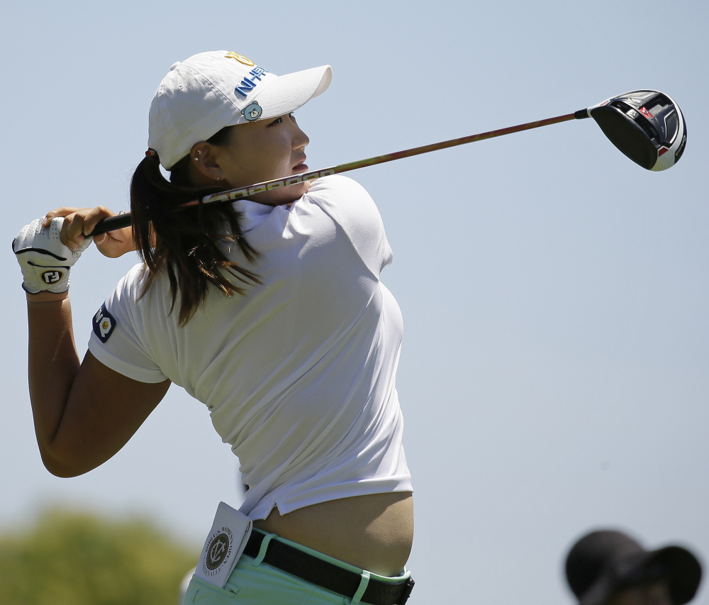 Mirim Lee of South Korea, watches a drive during the first round of the U.S. Women's Open at San Martin, Calif., on Thursday. Lee shot an 8-under-par 64, the first woman shooting that far below par since 1999.