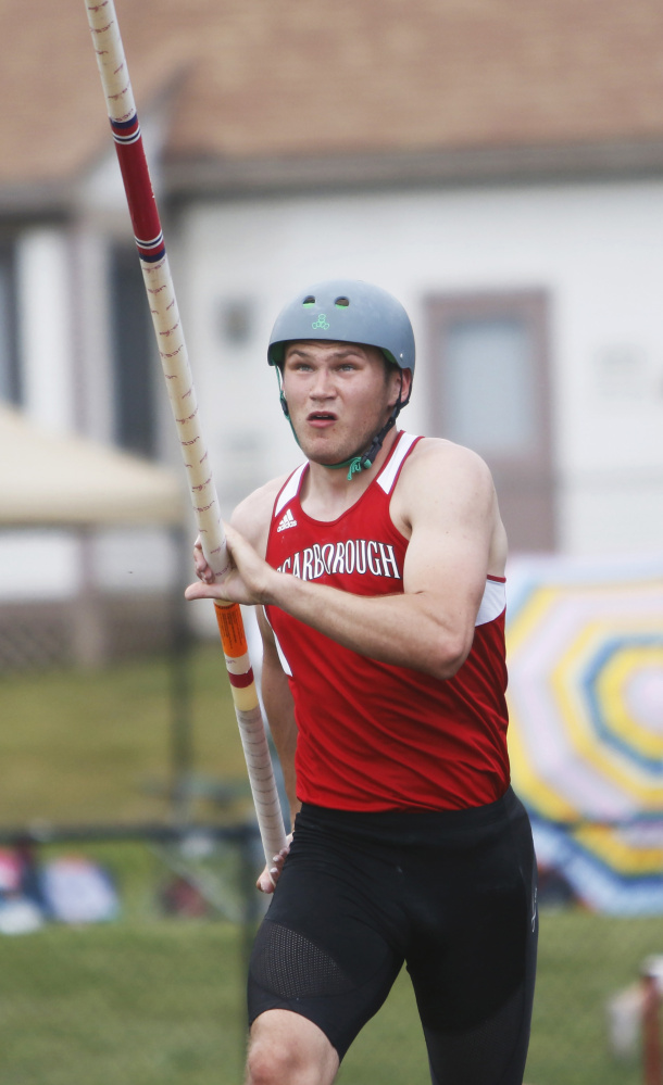 At the Class A state meet this spring, Sam Rusak of Scarborough won four events – including state-best performances in the pole vault and 110-meter hurdles. He also won the 200 and the high jump.