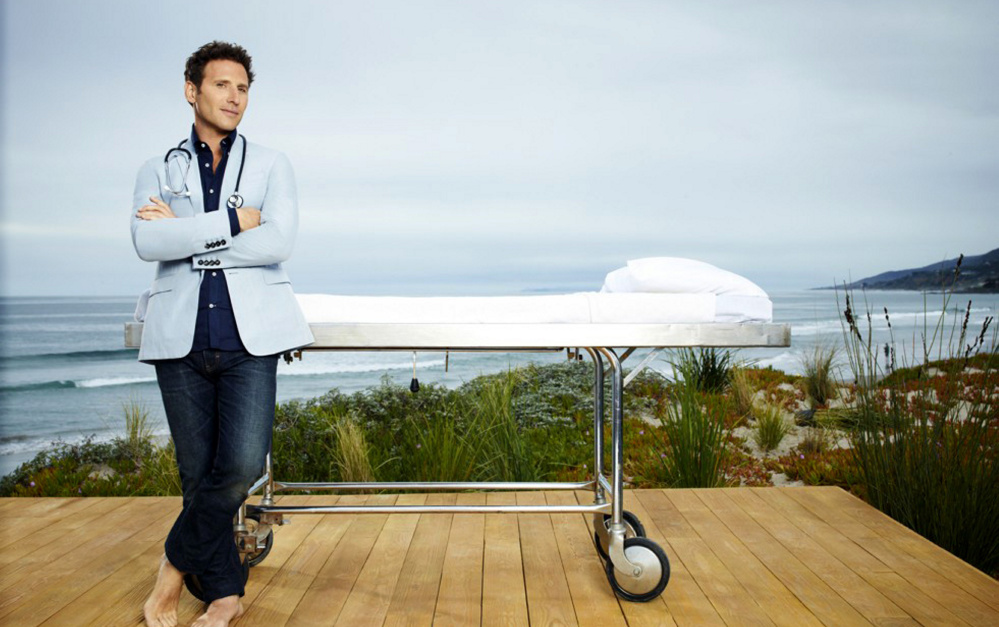 Mark Feuerstein as Dr. Hank Lawson in the Hamptons. The sky doesn't get bluer than this.  Justin Stephens, USA Network