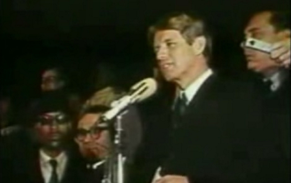 Just two months before his own murder, Sen. Robert F. Kennedy tells a crowd of supporters that Martin Luther King Jr. had been assassinated. Kennedy's plea to end the cycle of violence is still appropriate today.