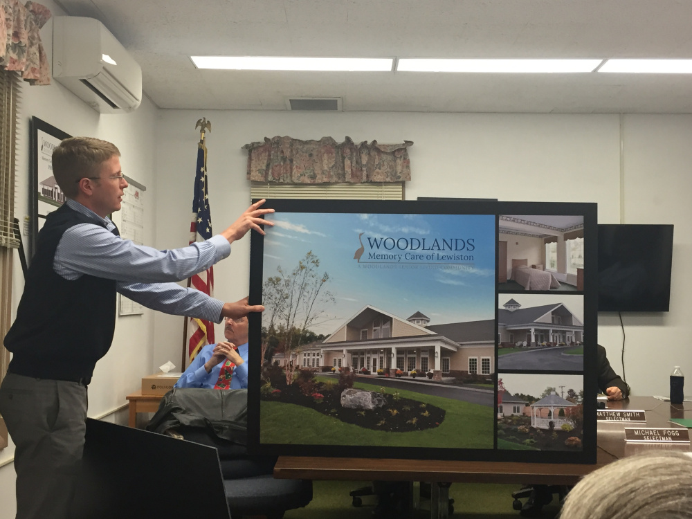 Matthew Walters, of Woodlands Senior Living, presents a proposed $4 million memory care center project to Farmington selectmen in December.