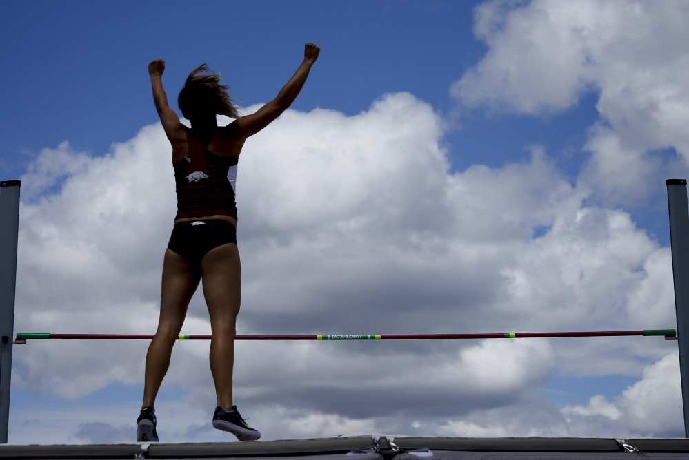 Taliyah Brooks celebrates Saturday during the heptathlon high jump at the U.S. Olympic track and field trials at Eugene, Ore. Brooks was fourth in the high jump and is eighth overall with three events remaining Sunday.