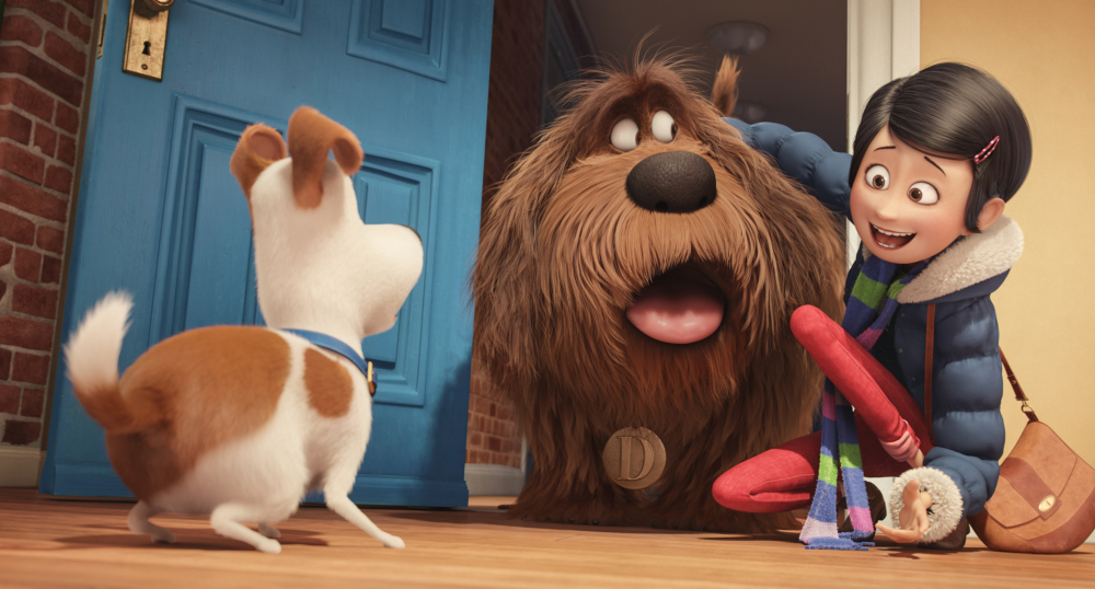 Max, voiced by Louis C.K., Duke, voiced by Eric Stonestreet, and Katie, voiced by Ellie Kemper, in
