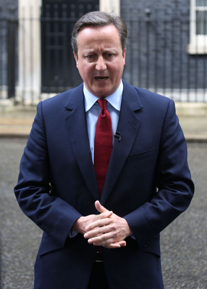 Britain's Prime Minister David Cameron announces on Monday in front of 10 Downing Street that he will resign on Wednesday.