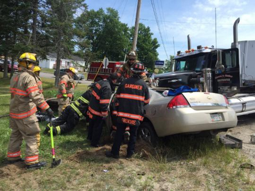 Two women from West Gardiner died after their car collided with a commercial truck in Litchfield around 11 a.m. Tuesday.