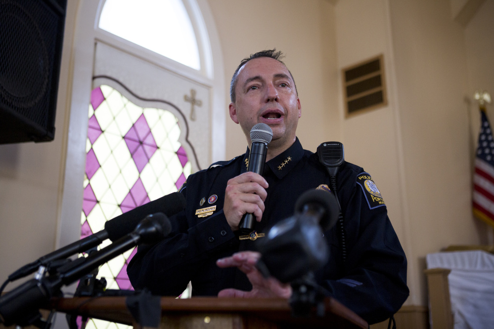 Portland Police Chief Michael Sauschuck speaks to the crowd of over 200 hundred people inside and outside Green Memorial AME Zion Church last week.