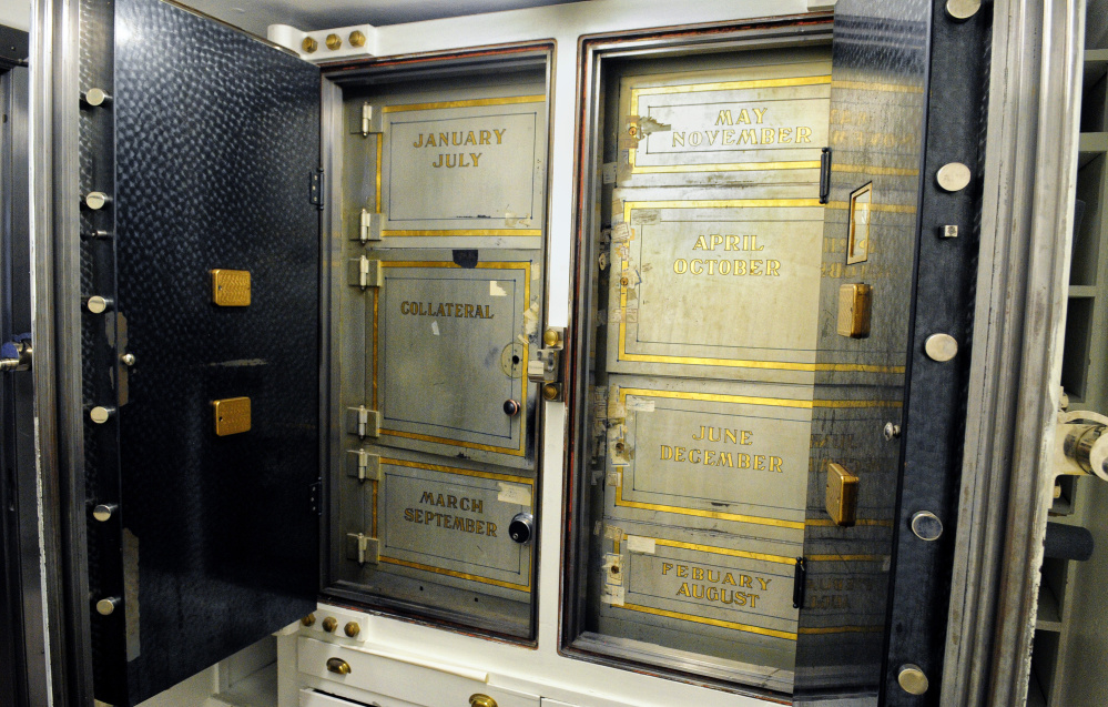 An old bank vault remains in Riverview Terrace at 227 Water St. in Augusta. Co-working memberships will start at $149 per month.