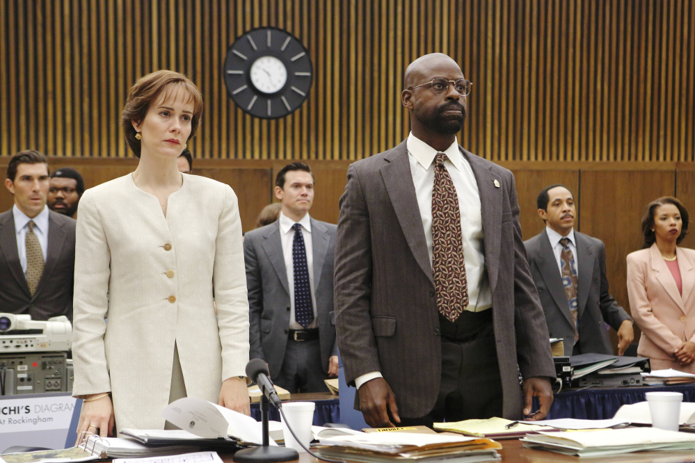 "Sarah Paulson portrays Marcia Clark and Sterling K. Brown portrays Christopher Darden in a scene from ""The People v O.J. Simpson: American Crime Story."" Brown was nominated for outstanding supporting actor in a limited series or movie for his role."