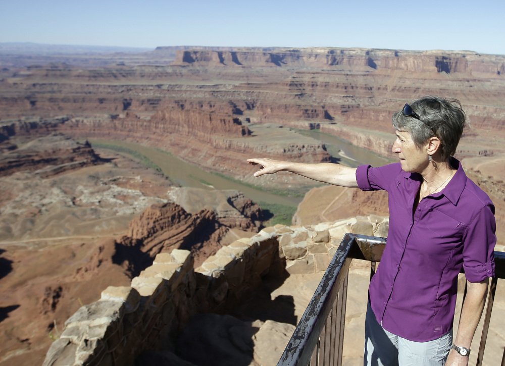 U.S. Interior Secretary Sally Jewell looks out from Dead Horse Point near Moab, Utah, on Thursday. She is meeting this week with proponents and opponents of a national monument.
