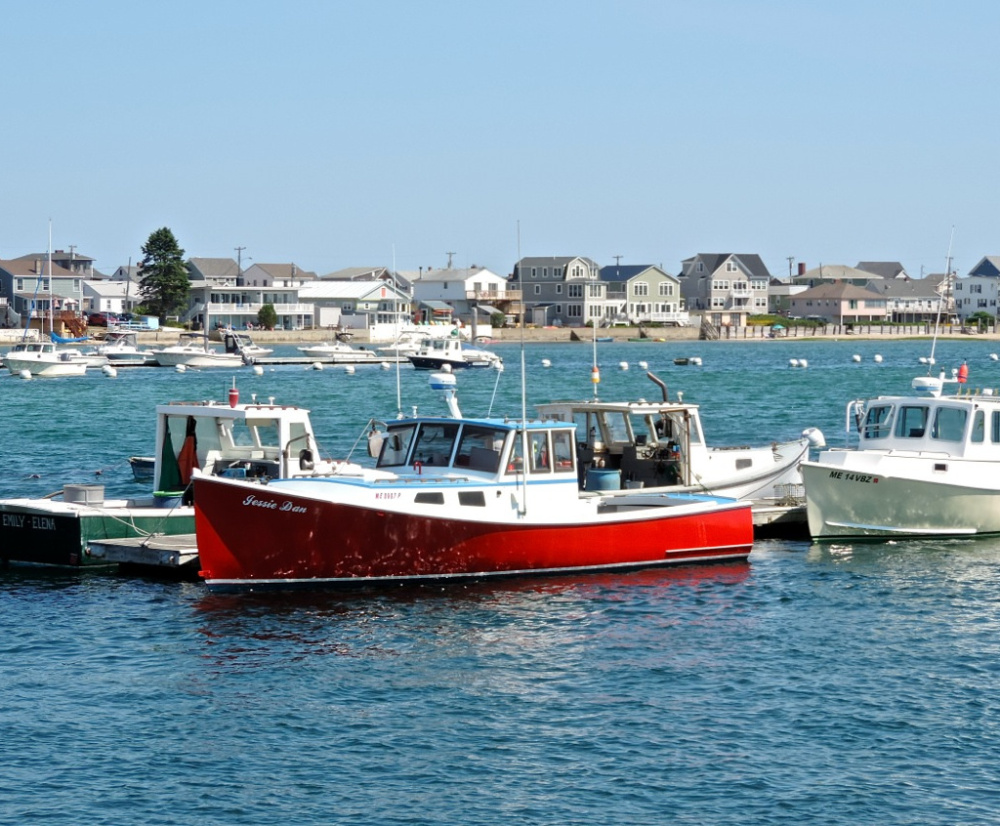 From the boat launch on the Webhannet you can take in the sights of lobster boats and Wells Beach cottages.