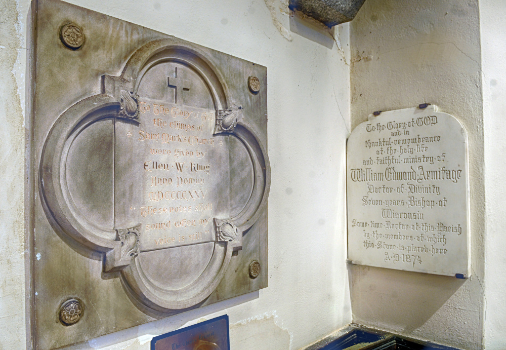 There are many memorial plaques in St. Mark's Episcopal Church in Augusta, which is for sale.