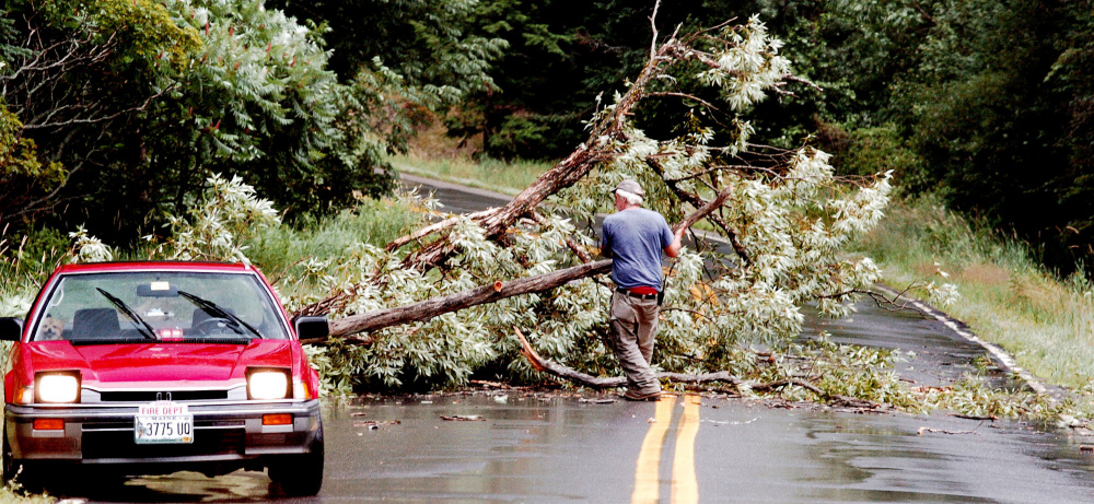 Starks Fire Chief Bill Pressey drags broken limbs from a tree from Route 134 after a storm with strong winds, rain and lightning passed through Somerset County on Monday.