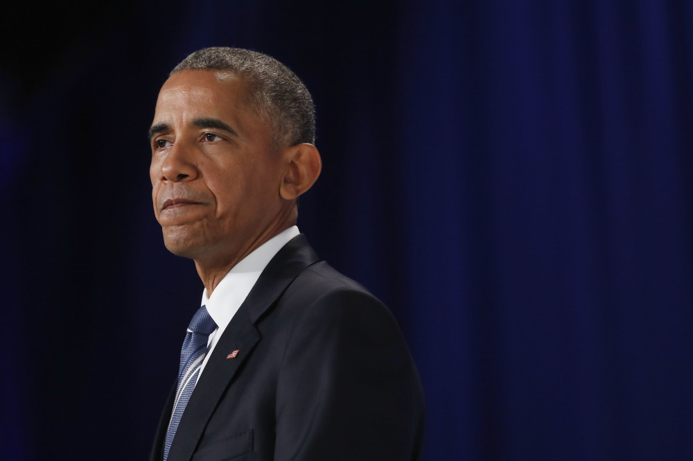 President Obama pauses while speaking at the White House Summit on Global Development in Washington on Wednesday. Associated Press/Pablo Martinez Monsivais Wednesday, July 20, 2016. (