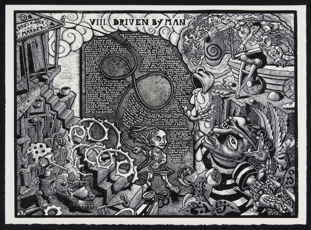 """Jay Bolotin, """"Driven by Man,"""" 2011-14, woodcut and relief etching on Arches cover paper, 31 x 23 inches"""
