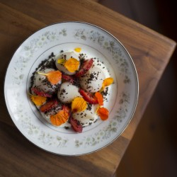 A beet salad with strawberries, ricotta and olives at the The Velveteen Habit in Cape Neddick. Photo by Brianna Soukup/Staff Photographer