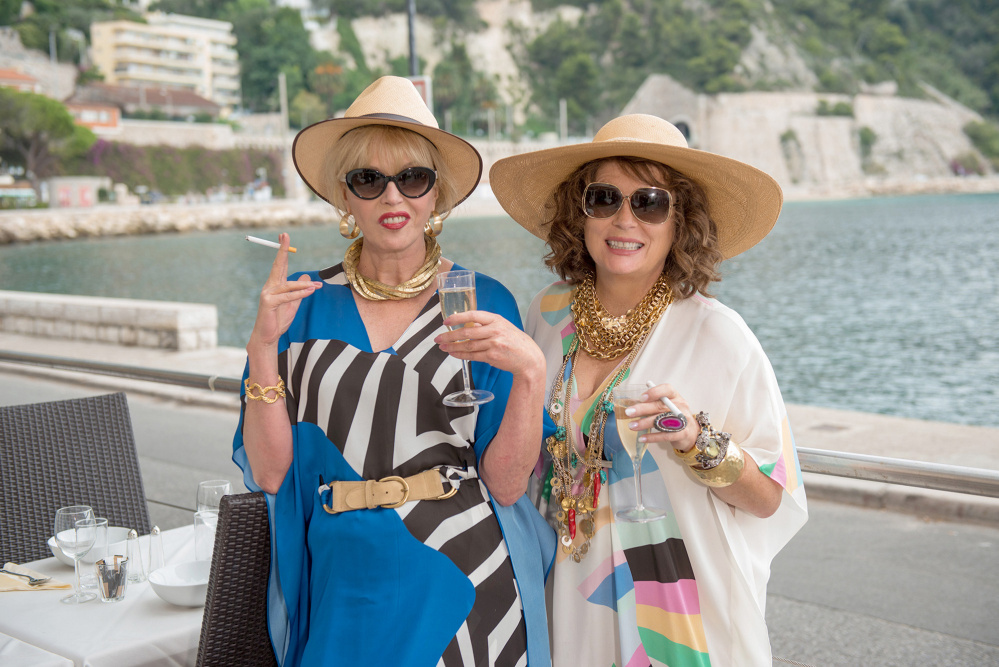 Joanna Lumley, left, as Patsy and Jennifer Saunders as Edina in