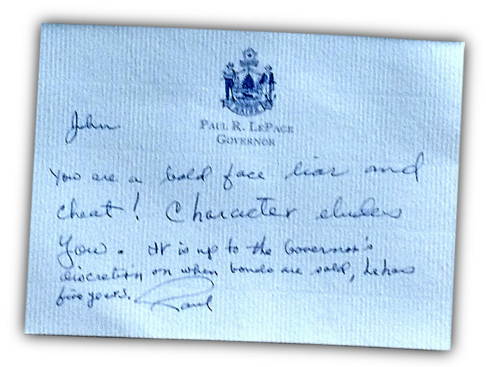 A June 2012 note from the governor to state Sen. John Patrick, D-Oxford