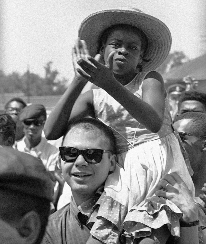 Marchers move along U.S. 51 near Batesville, Miss., in the summer of 1966.