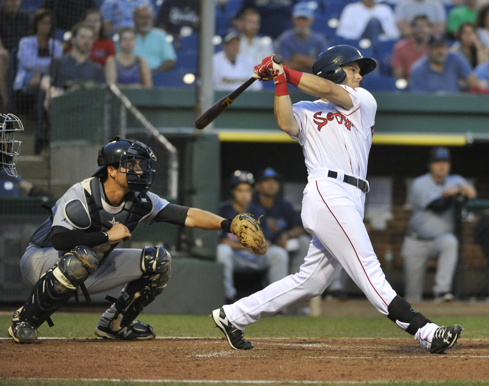 Andrew Benintendi earned a quick call-up to the Red Sox this week, marking the first jump from Portland to Boston since 2009.