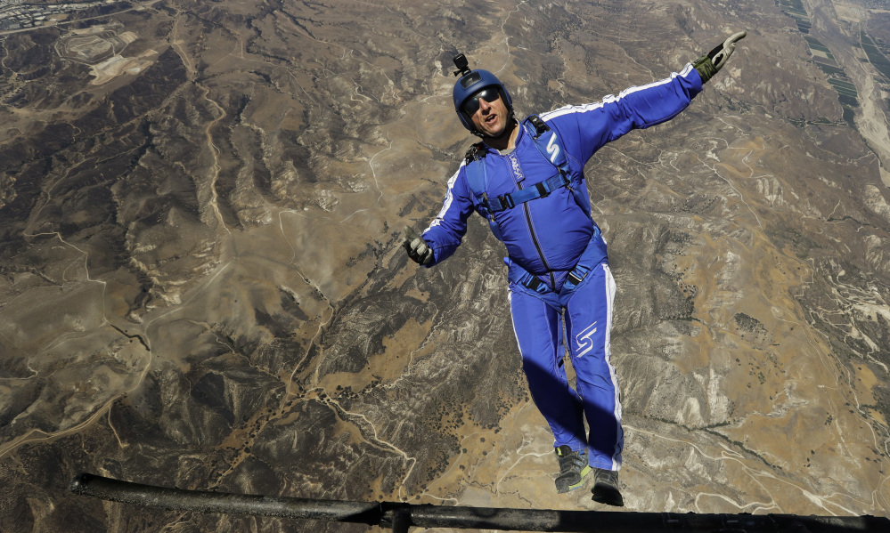 After months of training, elite skydiver Luke Aikins says he's ready to leave his parachute behind when he bails out at 25,000 feet over Simi Valley, Calif., this Saturday. His landing target is one-third the size of a football field. Associated Press/Jae C. Hong
