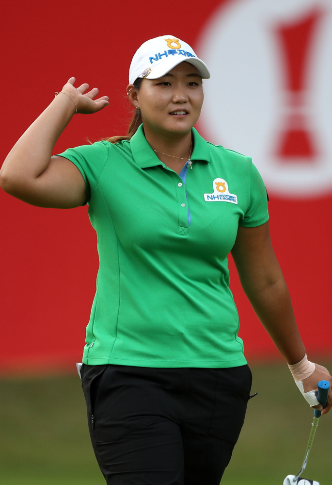 South Korea's Mirim Lee equaled the lowest round at the Women's British Open with a 10-under 62 Thursday at Woburn, England.