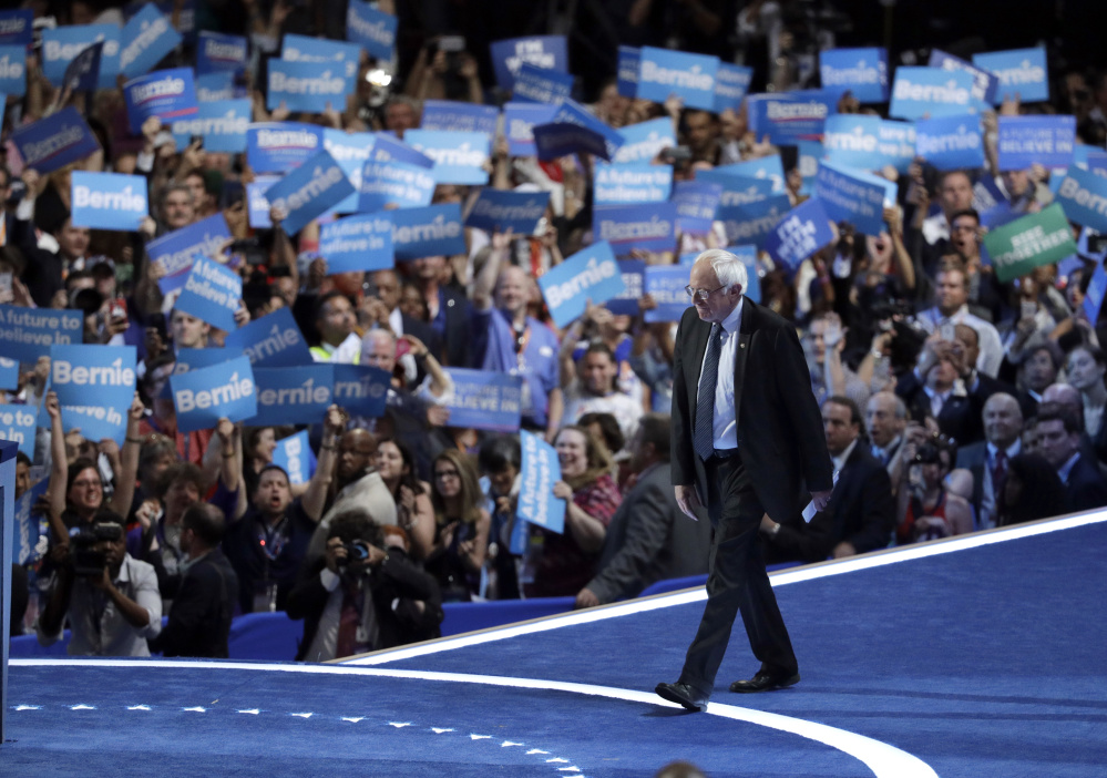 Vermont Sen. Bernie Sanders takes the stage on the first day of the Democratic National Convention in Philadelphia on, Monday.