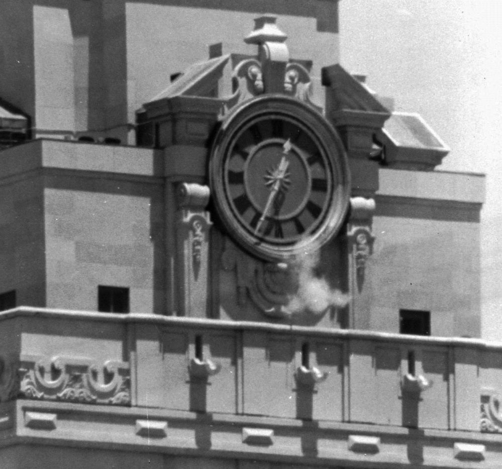A new memorial marking Charles Whitman's rampage from a university tower, above, will be unveiled on the same day a new law allows Texas students to bring guns onto campuses.