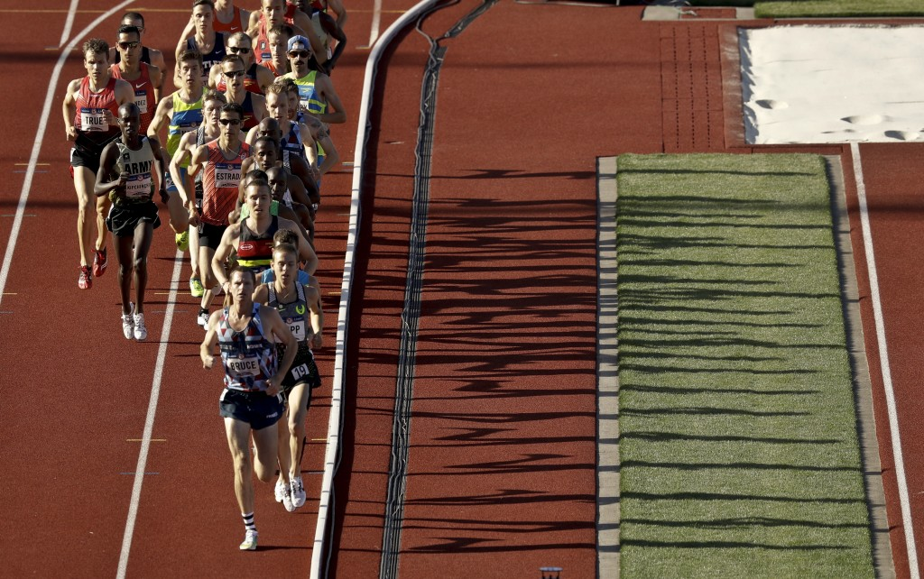 Racers compete in the men's 10,000-meter run at the U.S. Olympic Track and Field Trials on Friday in Eugene, Ore. Ben True of North Yarmouth finished 11th and missed a spot on the Olympic team.