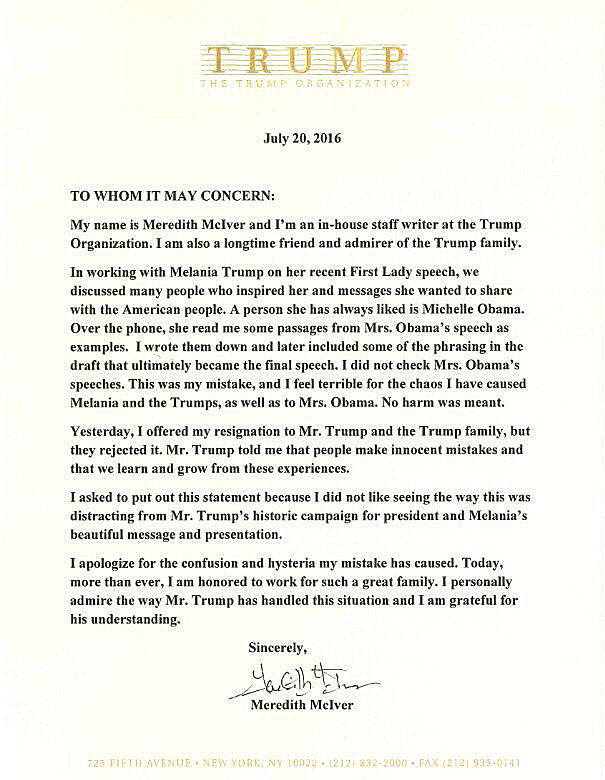 Letter released by Donald Trump's campaign organization on Wednesday.
