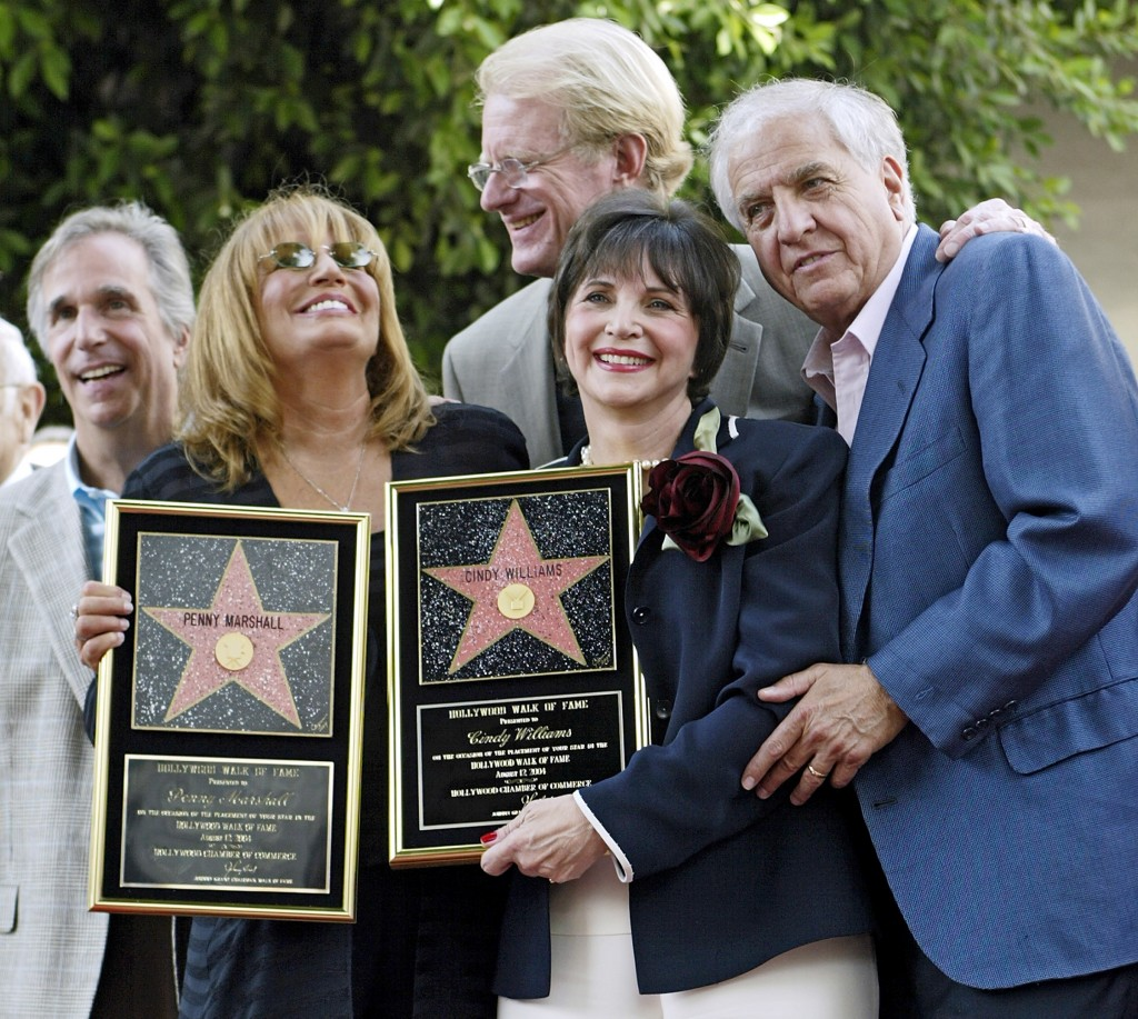 Actors from left, Henry Winkler, Penny Marshall, Ed Begley, Cindy Williams and Garry Marshall pose in this 2004 file photo.   Garry Marshall died Tuesday at the age of 81.    Associated Press/Damian Dovarganes
