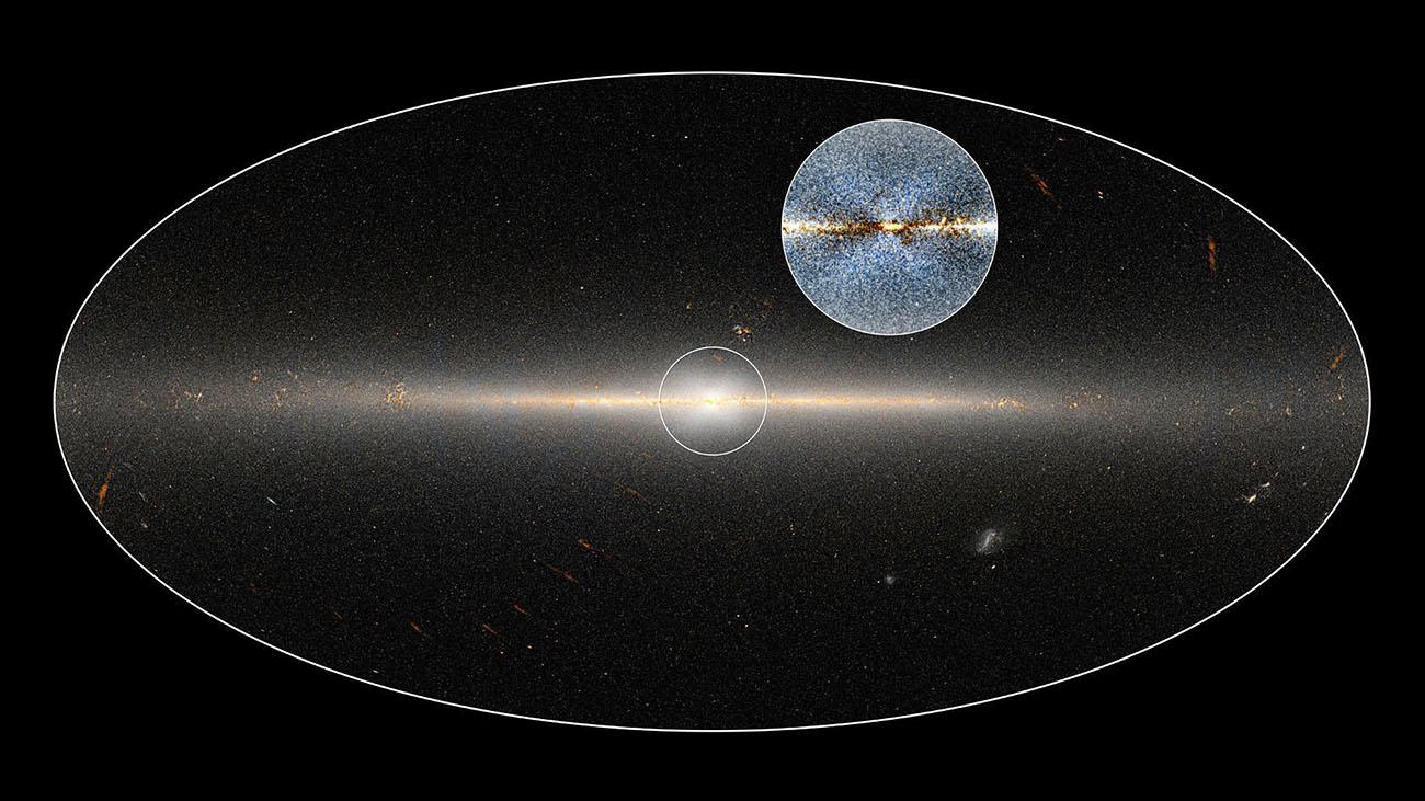 In 2010, NASA's Wide-field Infrared Survey Explorer (WISE) mission observed the entire sky twice. Astronomers used these data to point out the X-shaped structure in the bulge of the Milky Way, contained in the small circle at center, as well as the inset image. The circled central portion covers roughly the area of sky that would be blocked by a basketball when held out at arm's length. NASA/JPL-Caltech/D.Lang