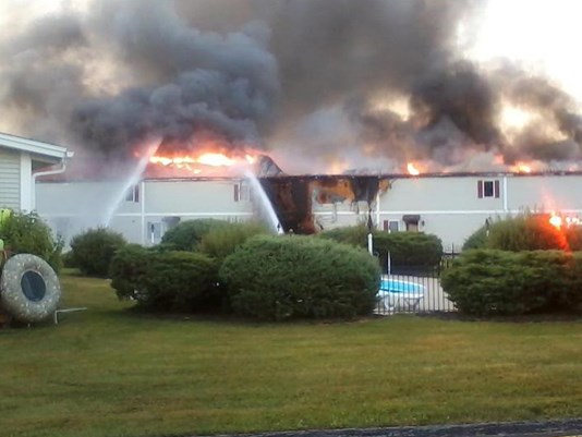 Crews were battling a fire at a Rumford motel early Wednesday.
