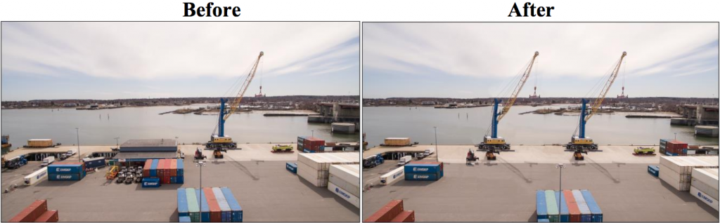 An image from the Maine Department of Transportation's successful grant application shows some of the port's proposed expansion projects, including the removal of a warehouse for an expansion of the wharf area and the addition of a new crane.