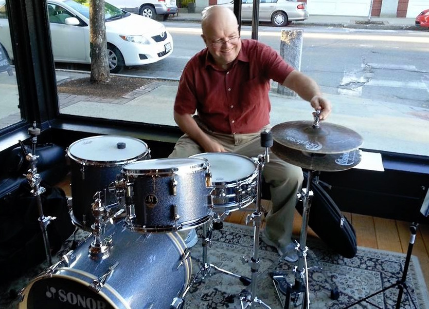 Jazz drummer and composer Steve Grover gets ready to play at Elements cafe in Biddeford in June 2015. Paul Lichter, a jazz concert promoter, called Grover