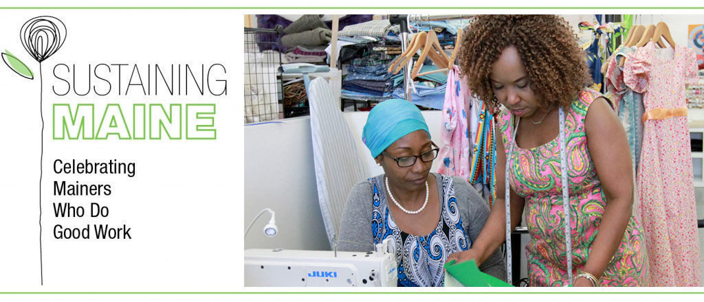 """Adele Masengo Ngoy, right, works with student Selva Kawaya of Portland during sewing class last week. Ngoy, a fashion designer who is teaching as a volunteer, says """"My plan is to have another program, another trainer, and have more women already in the field get involved, so that we can help and train more women."""""""