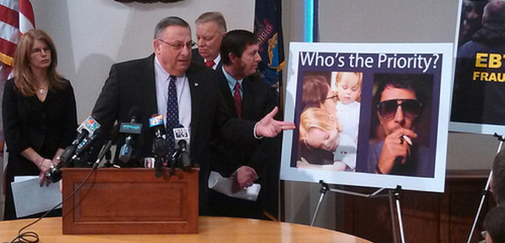 Gov. LePage defends cutting health coverage for childless adults, a policy that is interfering with the state's response to the opioid crisis.