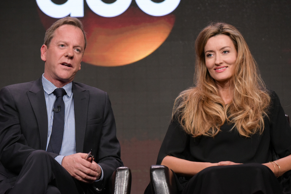 Kiefer Sutherland, left, and Natascha McElhone participate in the