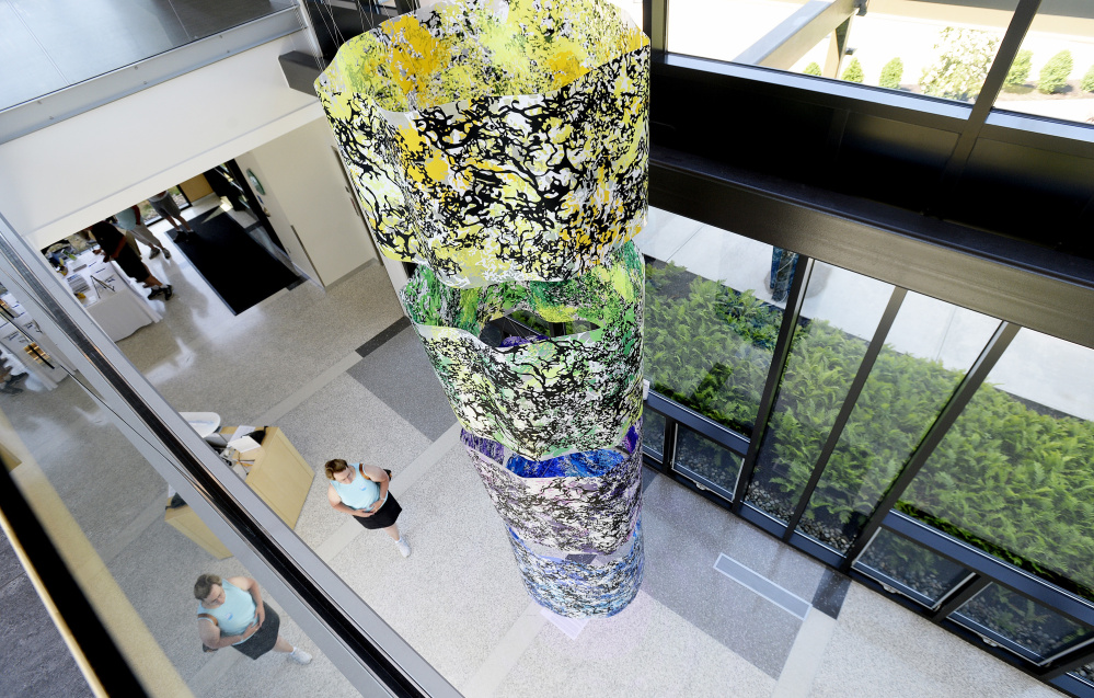 """Looking down on Carter Shappy's """"Colorcosm"""" at Bigelow Lab (Photos by Shawn Patrick Ouellette/Staff Photographer)"""