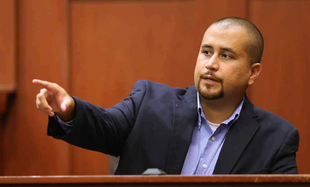 George Zimmerman testifies in court in 2105. He says he was threatened and punched in a restaurant in Sanford, Fla., the same city where he fatally shot Trayvon Martin.