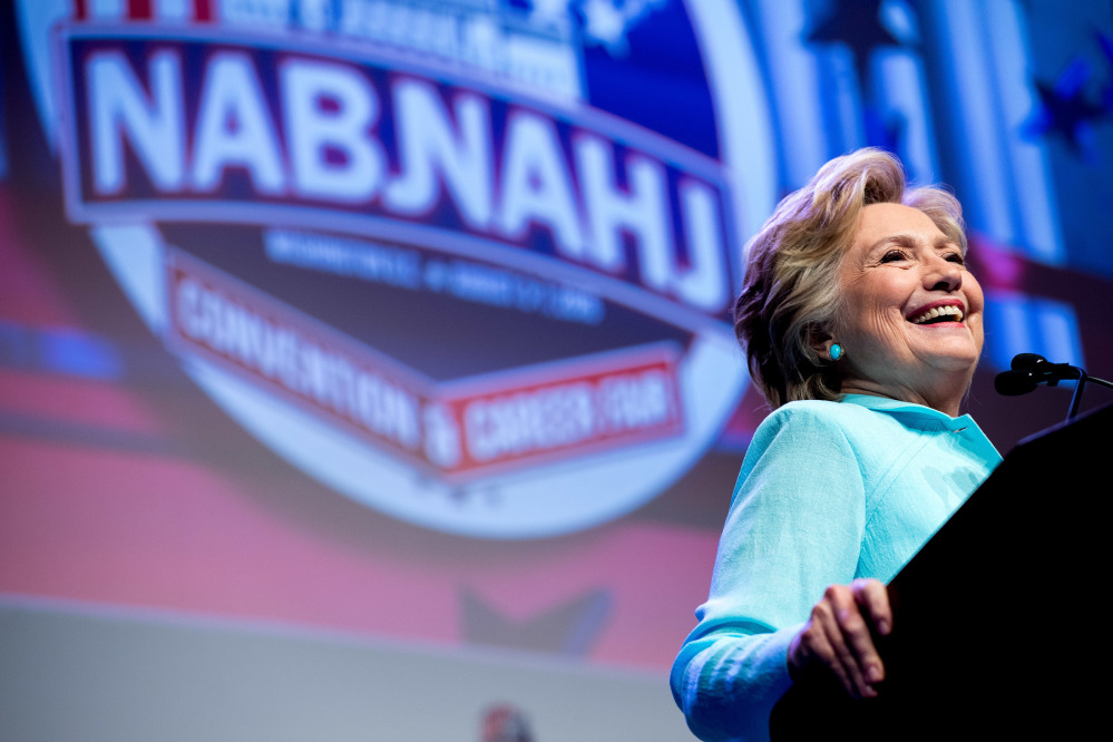 Democratic presidential candidate Hillary Clinton speaks at the 2016 National Association of Black Journalists' and National Association of Hispanic Journalists' Hall of Fame Luncheon at Marriott Wardman Park in Washington on Friday. Associated Press/Andrew Harnik
