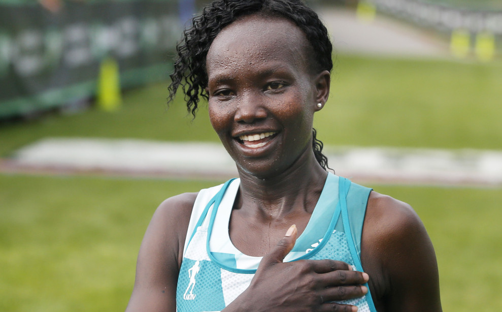 Mary Keitany, 34, of Kenya reacts after winning the TD Beach to Beacon in Cape Elizabeth in August. Derek Davis/Staff Photographer
