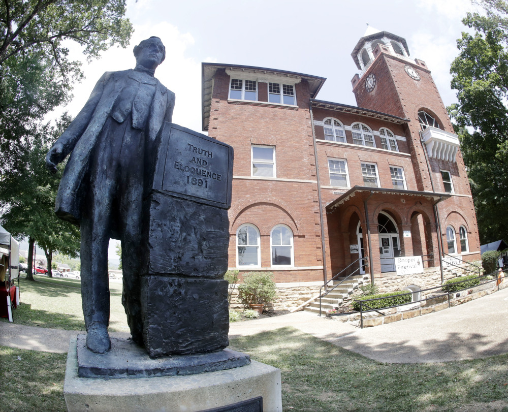 A statue of orator William Jennings Bryan stands out side the Rhea County Courthouse in Dayton, Tenn. An atheist group is raising money to add a statue of attorney Clarence Darrow.