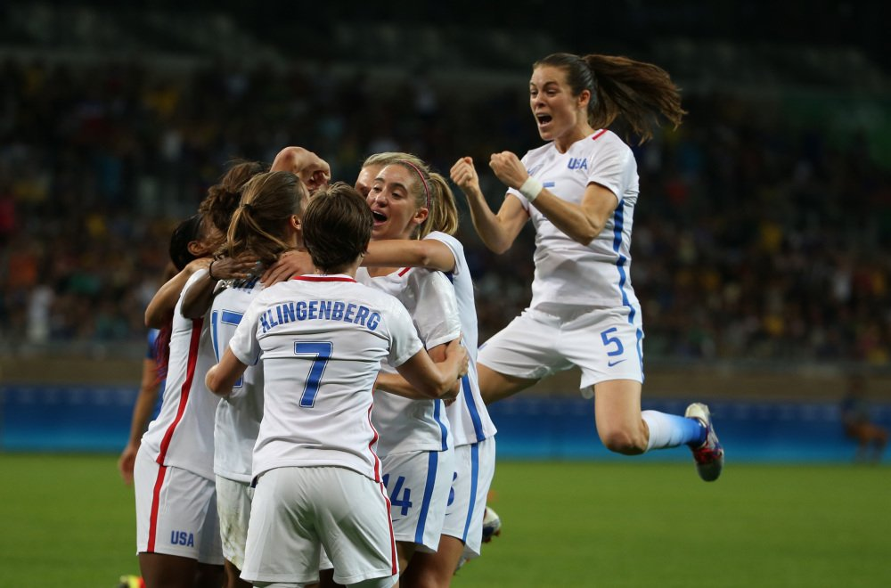 The United States celebrates after Carli Lloyd scored the lone goal of the game to lift the Americans to a 1-0 win over France in women's soccer on Saturday in Belo Horizonte, Brazil.