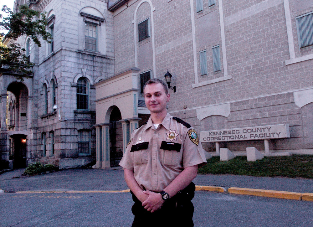 Thomas College student Tyler LeClair outside the Kennebec County Correctional Facility in Augusta, where he is an intern. LeClair said professor Steven Dyer's empathy-based approach to teaching criminal justice has helped him.