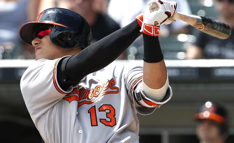 Baltimore Orioles' Manny Machado hits a two-run home run against the Chicago White Sox during the first inning in Chicago on Sunday. Associated Press/Nam Y. Huh